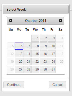 Screenshot of Web4U date selection tool