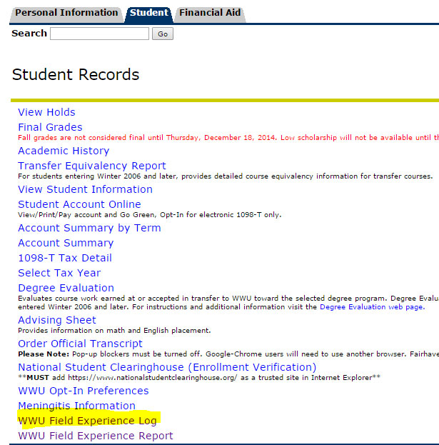 Screenshot of Student Records menu in Student tab of Web4U with WWU Field Experience Log highlighted.