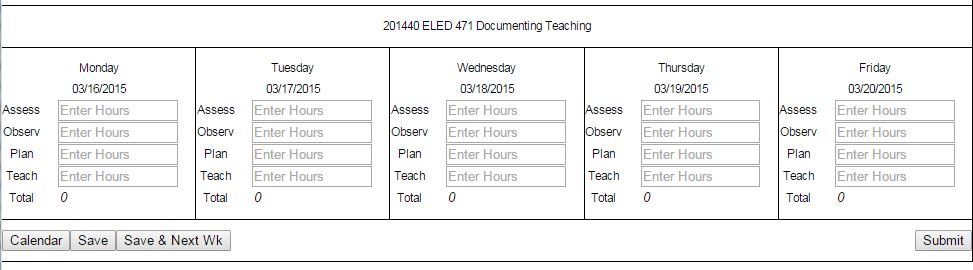 Screenshot of hour entry sheet in Web4U