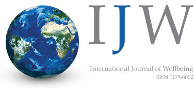 Logo of the International Journal of Wellbeing (IJW) showing Earth and the letters I, J, and W.