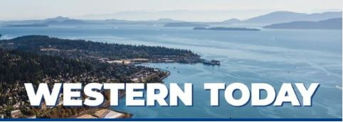 Western Today news logo featuring birds-eye view of Bellingham Bay